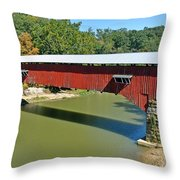 West Union Covered Bridge 2 Throw Pillow