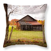 West Virginia Barn In Fall Throw Pillow