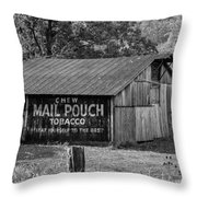 West Virginia Barn Monochrome Throw Pillow