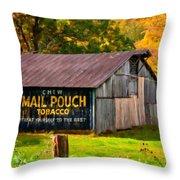 West Virginia Barn Oil Throw Pillow