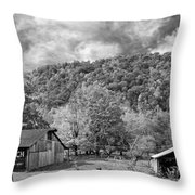 West Virginia Barns Monochrome Throw Pillow