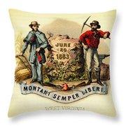 West Virginia Coat Of Arms - 1876 Throw Pillow