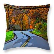 West Virginia Curves 2 Line Art Throw Pillow