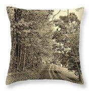 West Virginia Wandering Sepia Throw Pillow