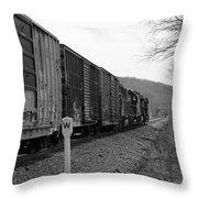 Westbound Train Black And White Throw Pillow