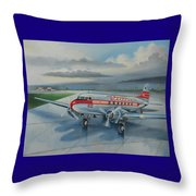 Western Airlines Dc-3 Throw Pillow