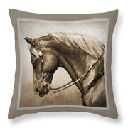 Western Horse Aged Photo Fx Sepia Pillow Throw Pillow