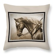Western Horse Old Photo Fx Throw Pillow by Crista Forest