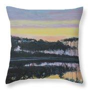 Western Lake Sunrise Throw Pillow