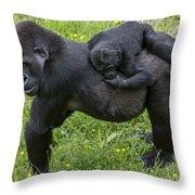 Western Lowland Gorilla 2 Throw Pillow