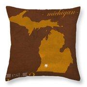 Western Michigan University Broncos Kalamazoo Mi College Town State Map Poster Series No 126 Throw Pillow