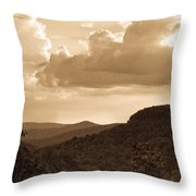 Western Mountain Scene In Sepia Throw Pillow