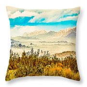 Western Panorama From Mountain At Joshua Tree National Park Throw Pillow