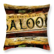 Western Saloon Sign - Drawing Throw Pillow