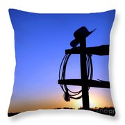 Western Sunset Throw Pillow by Olivier Le Queinec