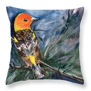 Western Tanager At Mt. Falcon Park Throw Pillow
