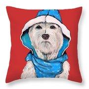 Westie In A Blue Slicker Throw Pillow