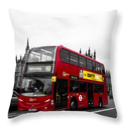 Westminster And Red Bus Throw Pillow