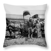 Westward Family In Covered Wagon C. 1886 Throw Pillow