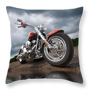 Wet And Wild - Harley Screamin' Eagle Reflection Throw Pillow