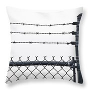 Wet Barbed Wire Fence In Heavy Fog E69 Throw Pillow