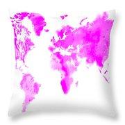 Wet Paint World Map Throw Pillow