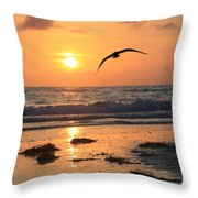 Wet Sunset Throw Pillow