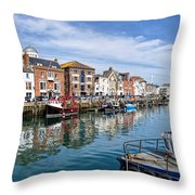 Weymouth Harbour Throw Pillow