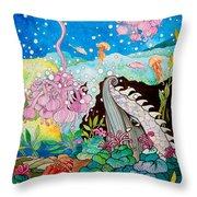 Whaeel And The Sea Throw Pillow