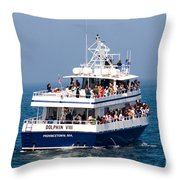 Whale Watching Boat Throw Pillow