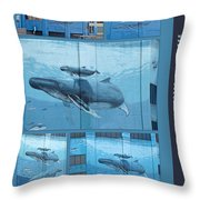 Whaling Wall 42 -  East Coast Humpbacks - Original Painting By Wyland Throw Pillow