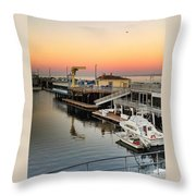 Wharf #2 In Monterey At Sunset Throw Pillow