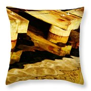Wharf Reflections In Brown Throw Pillow