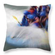White Water Rafting What A Rush Throw Pillow