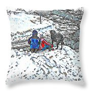 What Fascinates Children And Dogs -  Snow Day - Winter Throw Pillow
