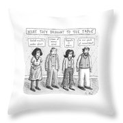 What They Brought To The Table -- A Line Throw Pillow
