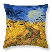 Wheat Field With Crows Throw Pillow