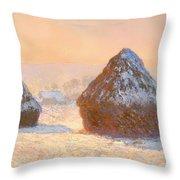 Wheat Stacks - Snow Effect Morning Throw Pillow