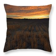 Wheat Stubble Sunset Throw Pillow by Mike  Dawson