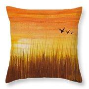 Wheatfield At Sunset Throw Pillow