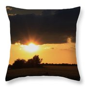 Wheatfield Sunset With Cloud's And Tree's Throw Pillow