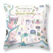 Wheatshires Aincient Map Throw Pillow