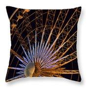 Wheel At Night Niagara Falls Throw Pillow