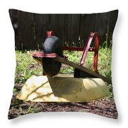 Wheel Barrow In A Yard Throw Pillow by Robert D  Brozek