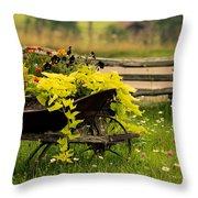 Wheel Barrow Of Flowers Throw Pillow