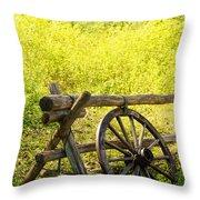 Wheel On Fence Throw Pillow