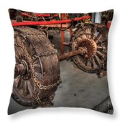 Wheels Of Old Steam Wagon Throw Pillow