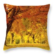 When Autumn Leaves Fall Throw Pillow