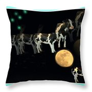 When Cows Jump Over The Moon Throw Pillow