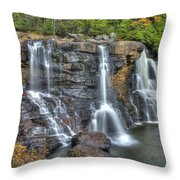 When Light And Water Falls-2a Three Cascades Over Blackwater Falls State Park Wv Autumn Mid-morning Throw Pillow